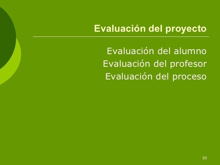 Evaluación del proyecto  Evaluación del alumno Evaluación del profesor Evaluación del proceso                      30