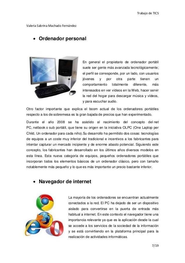 Trabajo de TICSValeria Sabrina Machado Fernández        Ordenador personal                                    En general e...