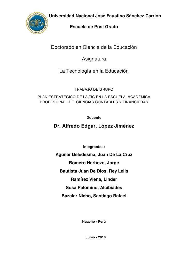 Universidad Nacional José Faustino Sánchez Carrión<br />Escuela de Post Grado<br />Doctorado en Ciencia ...