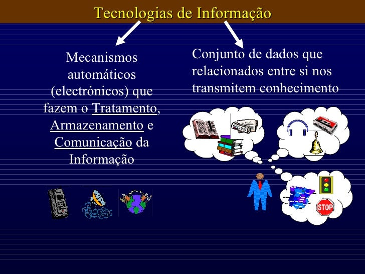 Conjunto de dados que relacionados entre si nos transmitem conhecimento Mecanismos automáticos (electrónicos) que fazem o ...