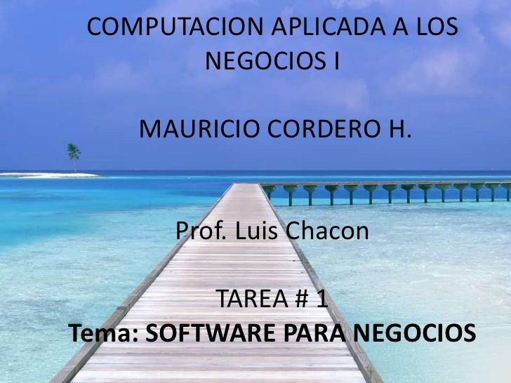 COMPUTACION APLICADA A LOS        NEGOCIOS I    MAURICIO CORDERO H.       Prof. Luis Chacon          TAREA # 1Tema: SOFTWA...