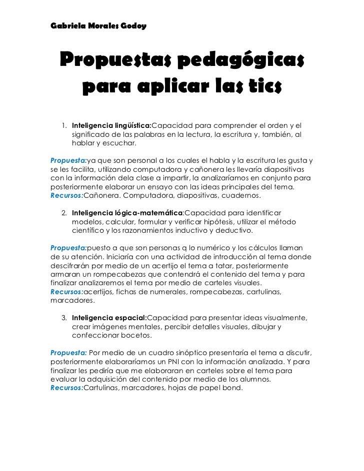 Gabriela Morales Godoy  Propuestas pedagógicas    para aplicar las tics   1. Inteligencia lingüística:Capacidad para compr...