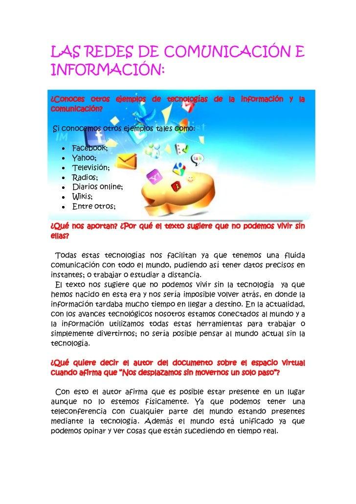 LAS REDES DE COMUNICACIÓN E INFORMACIÓN:<br />-70485245110<br />¿Conoces otros ejemplos de tecnologías de la información y...