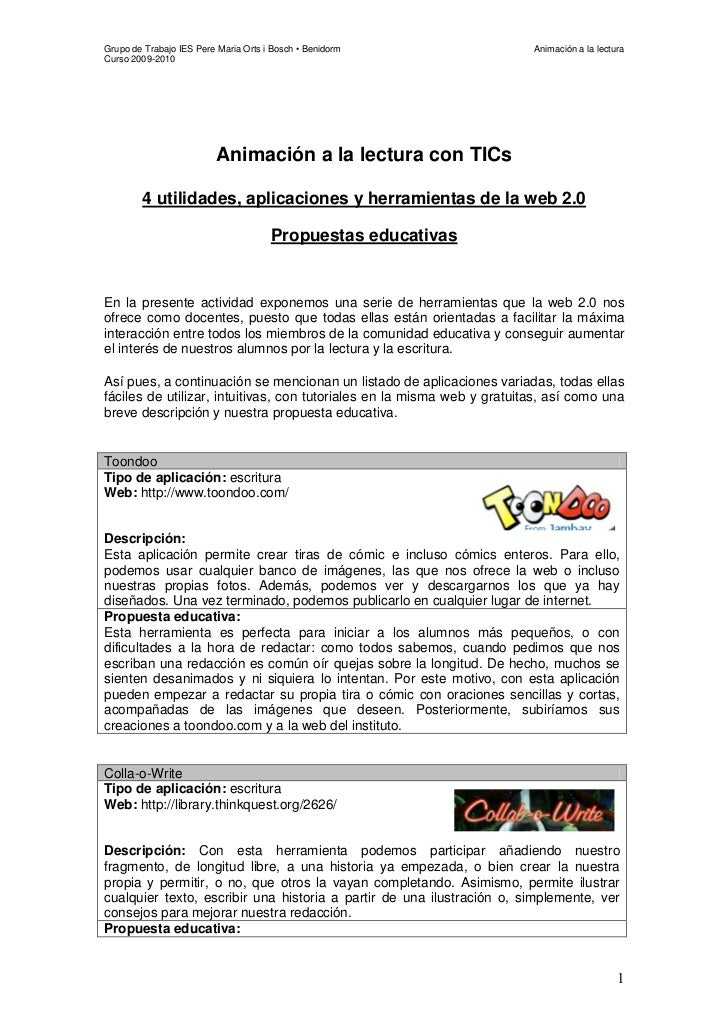 Grupo de Trabajo IES Pere Maria Orts i Bosch • Benidorm                  Animación a la lecturaCurso 2009-2010            ...