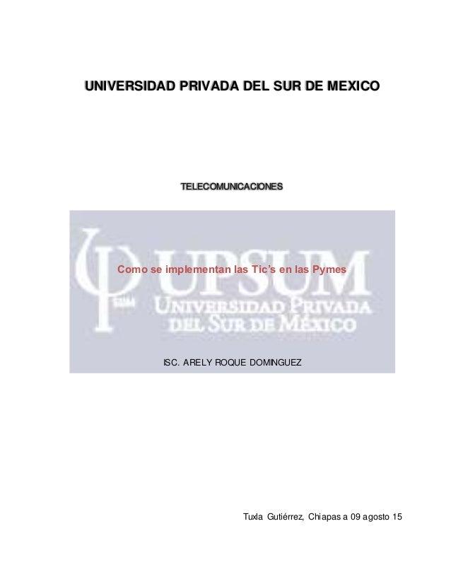 UNIVERSIDAD PRIVADA DEL SUR DE MEXICO TELECOMUNICACIONES Como se implementan las Tic's en las Pymes ISC. ARELY ROQUE DOMIN...