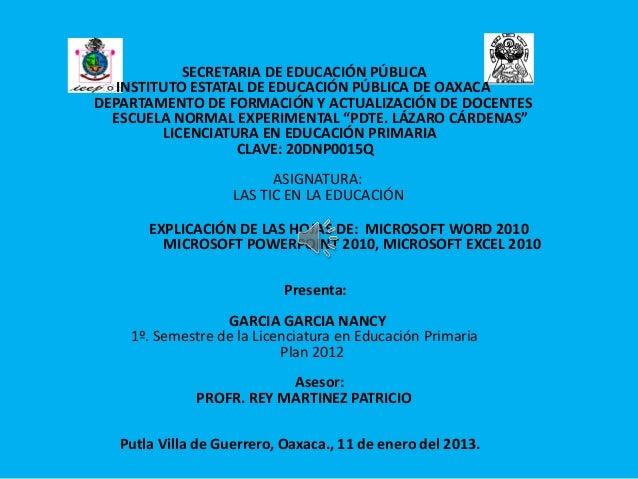 SECRETARIA DE EDUCACIÓN PÚBLICA   INSTITUTO ESTATAL DE EDUCACIÓN PÚBLICA DE OAXACADEPARTAMENTO DE FORMACIÓN Y ACTUALIZACIÓ...