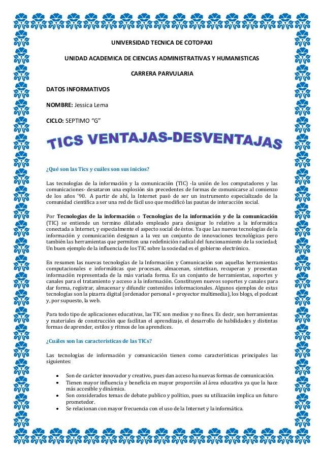 UNIVERSIDAD TECNICA DE COTOPAXIUNIDAD ACADEMICA DE CIENCIAS ADMINISTRATIVAS Y HUMANISTICASCARRERA PARVULARIADATOS INFORMAT...