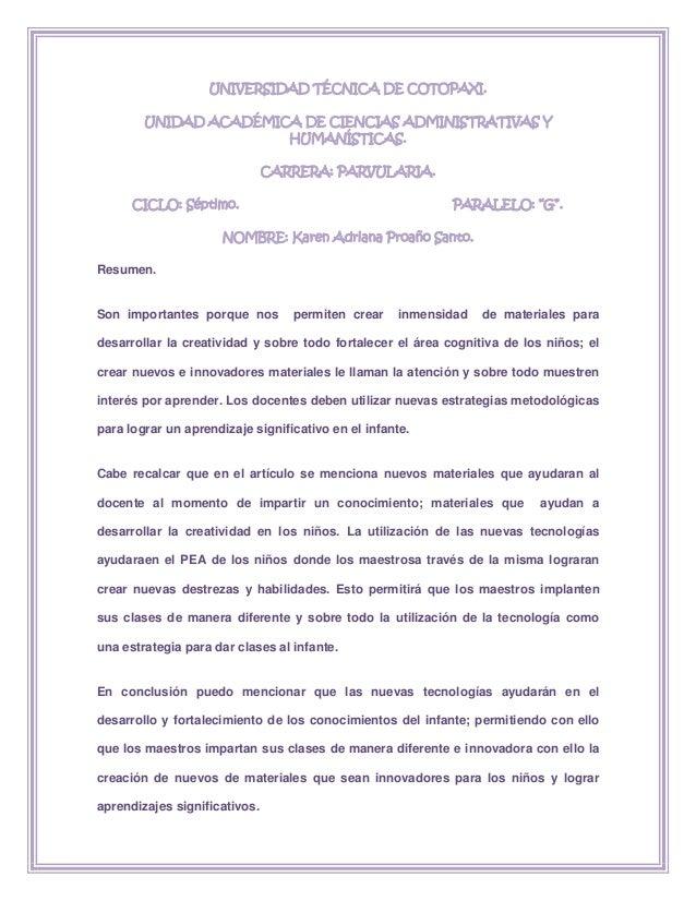 UNIVERSIDAD TÉCNICA DE COTOPAXI.UNIDAD ACADÉMICA DE CIENCIAS ADMINISTRATIVAS YHUMANÍSTICAS.CARRERA: PARVULARIA.CICLO: Sépt...