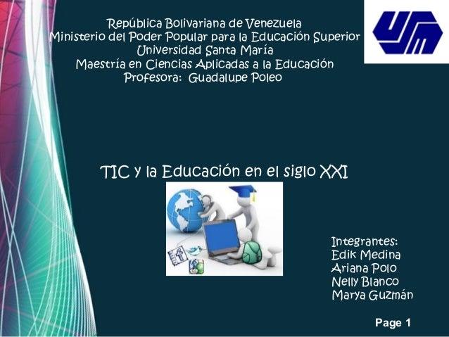 Page 1 República Bolivariana de Venezuela Ministerio del Poder Popular para la Educación Superior Universidad Santa María ...