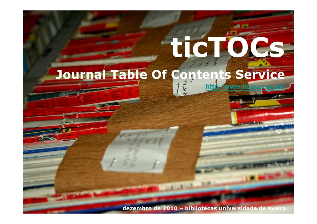 ticTOCs Journal Table Of Contents Service                                    http://www.tictocs.ac.uk/              dezemb...