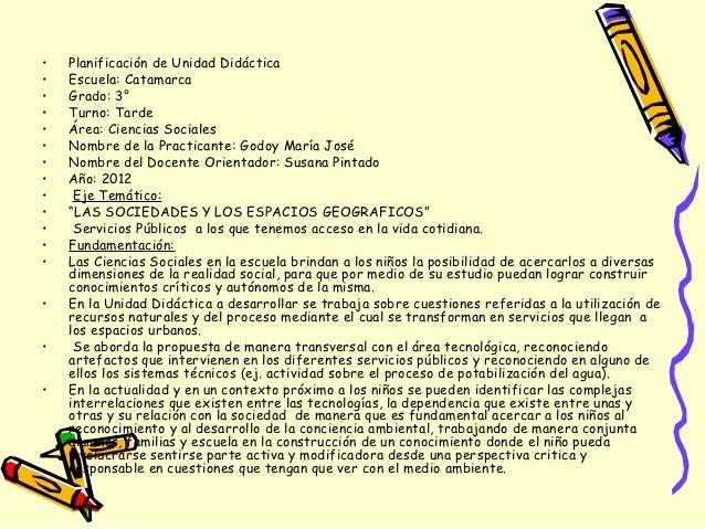 •   Planificación de Unidad Didáctica•   Escuela: Catamarca•   Grado: 3°•   Turno: Tarde•   Área: Ciencias Sociales•   Nom...
