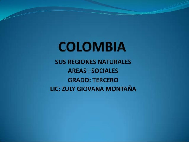 SUS REGIONES NATURALES AREAS : SOCIALES GRADO: TERCERO LIC: ZULY GIOVANA MONTAÑA