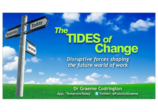 The  TIDES of Change Disruptive forces shaping the future world of work  Dr Graeme Codrington App: 'TomorrowToday'  Twitte...