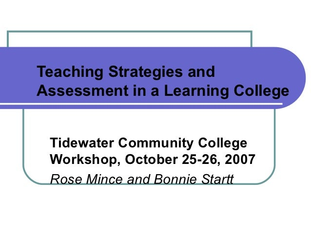Teaching Strategies andAssessment in a Learning College Tidewater Community College Workshop, October 25-26, 2007 Rose Min...
