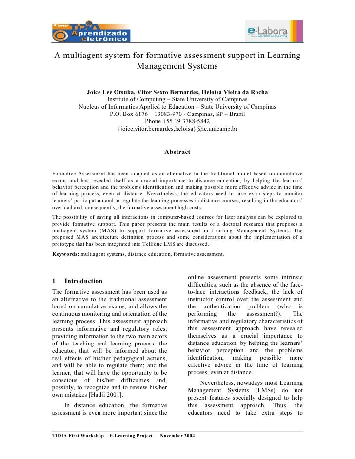 A multiagent system for formative assessment support in Learning                      Management Systems               Joi...