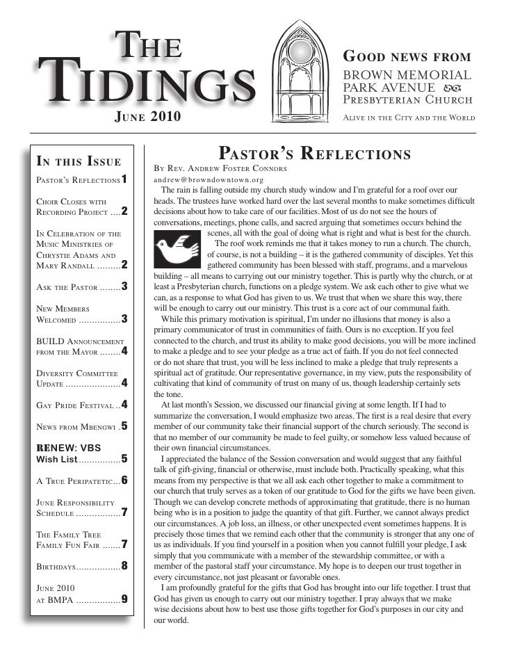 The Tidings                                                                                            G ood          news...