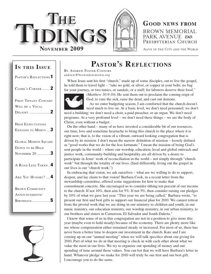 The Tidings                                                                                      G ood         news from  ...
