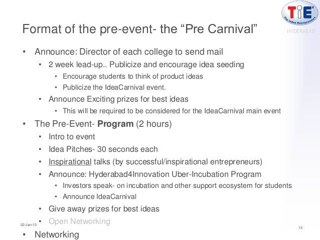 """Format of the pre-event- the """"Pre Carnival""""                                                HYDERABAD • Announce: Director ..."""