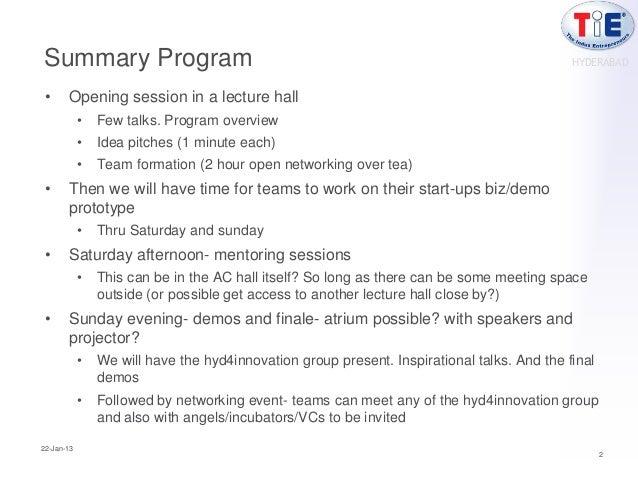 Summary Program                                                                              HYDERABAD •     Opening sessi...
