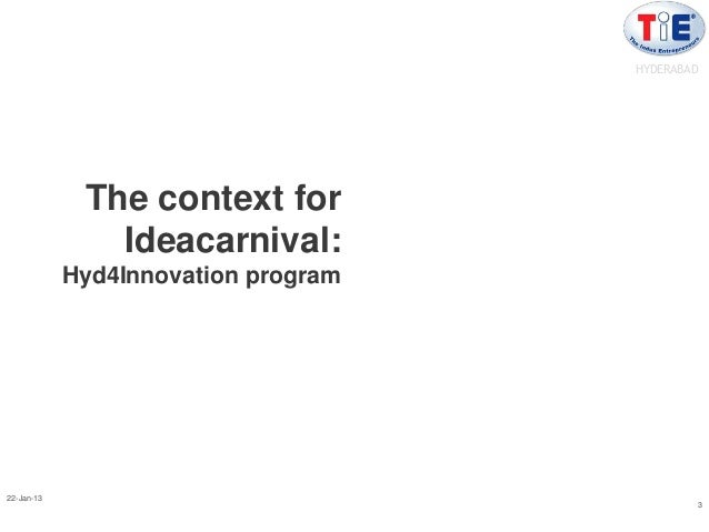 HYDERABAD             The context for               Ideacarnival:            Hyd4Innovation program22-Jan-13              ...