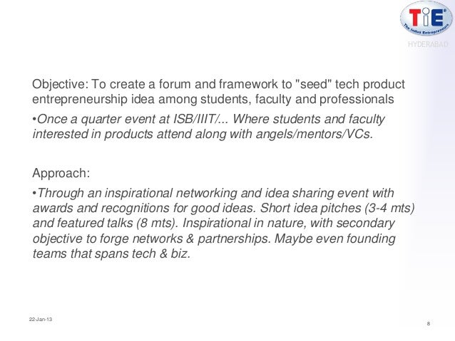 """HYDERABAD Objective: To create a forum and framework to """"seed"""" tech product entrepreneurship idea among students, faculty ..."""