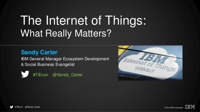© 2014 IBM Corporation@Sandy_Carter#TiEcon The Internet of Things: What Really Matters? Sandy Carter IBM General Manager E...