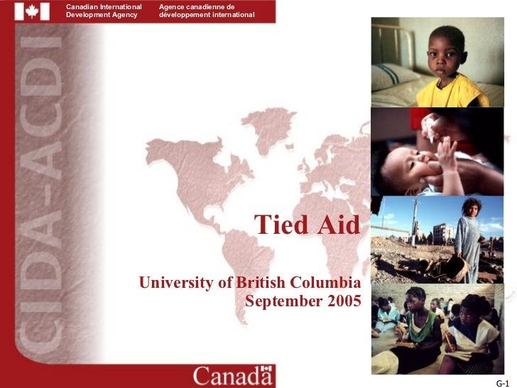 Tied Aid University of British Columbia September 2005 G-1