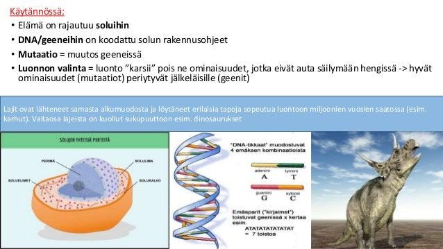 Käytännössä: • Elämä on rajautuu soluihin • DNA/geeneihin on koodattu solun rakennusohjeet • Mutaatio = muutos geeneissä •...