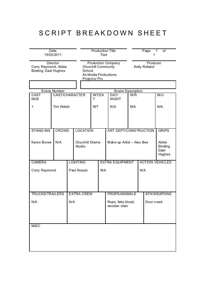 Tied script breakdown sheet