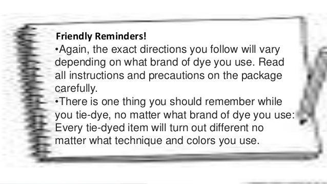 Tie Dye Report