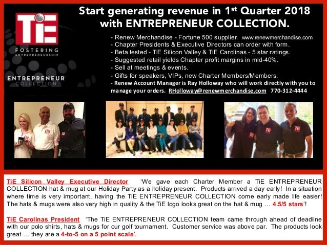 TiE Silicon Valley Executive Director 'We gave each Charter Member a TiE ENTREPRENEUR COLLECTION hat & mug at our Holiday ...