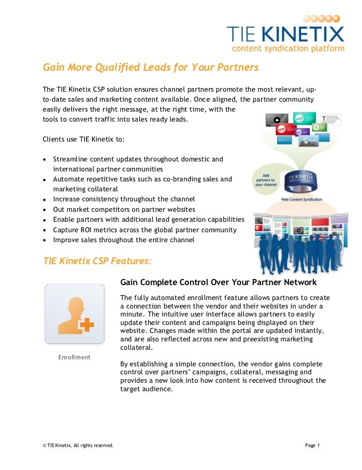 Gain More Qualified Leads for Your PartnersThe TIE Kinetix CSP solution ensures channel partners promote the most relevant...
