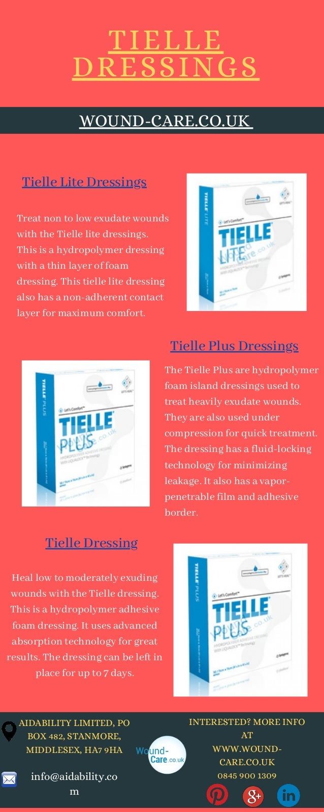 INTERESTED? MORE INFO AT WWW.WOUND- CARE.CO.UK 0845 900 1309 The Tielle Plus are hydropolymer foam island dressings used t...