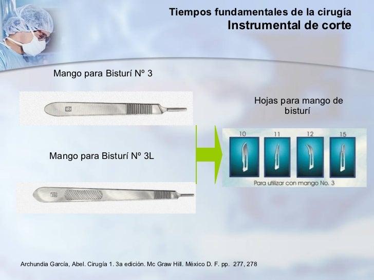 Mango para Bisturí Nº 3  Mango para Bisturí Nº 3L  Hojas para mango de bisturí  Archundia García, Abel. Cirugía 1. 3a edic...