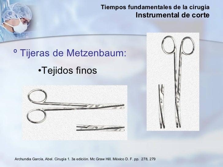 <ul><li>º Tijeras de Metzenbaum: </li></ul><ul><li>Tejidos finos  </li></ul>Archundia García, Abel. Cirugía 1. 3a edición....