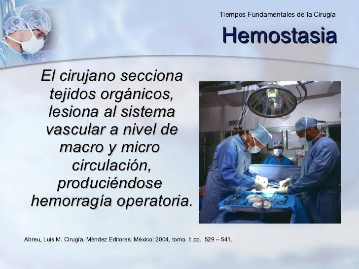 Hemostasia <ul><li>El cirujano secciona tejidos orgánicos, lesiona al sistema vascular a nivel de macro y micro  circulaci...