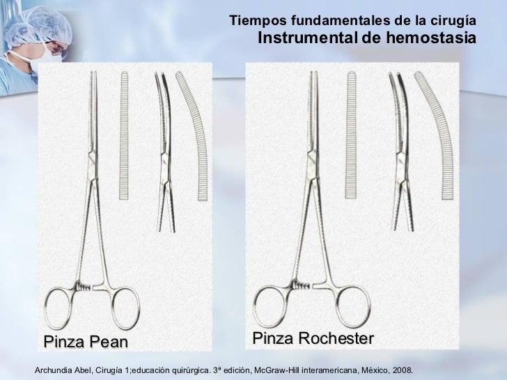 Archundia Abel, Cirugía 1;educación quirúrgica. 3ª edición, McGraw-Hill interamericana, México, 2008. Pinza Pean Pinza Roc...