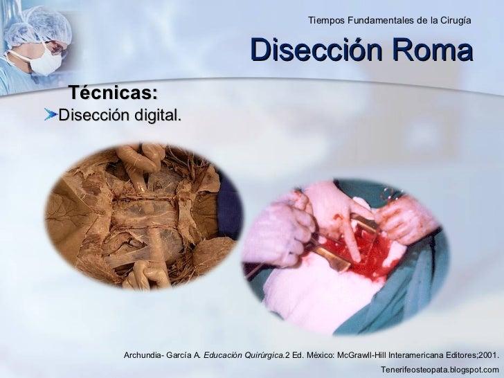 Disección Roma <ul><li>Disección digital. </li></ul>Archundia- García A.  Educación Quirúrgica .2 Ed. México: McGrawll-Hil...