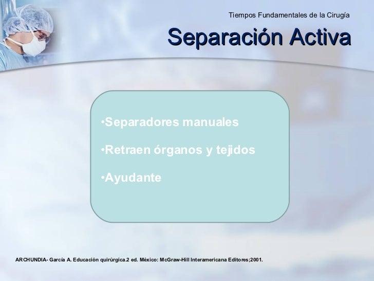 Separación Activa <ul><li>Separadores manuales </li></ul><ul><li>Retraen órganos y tejidos  </li></ul><ul><li>Ayudante </l...