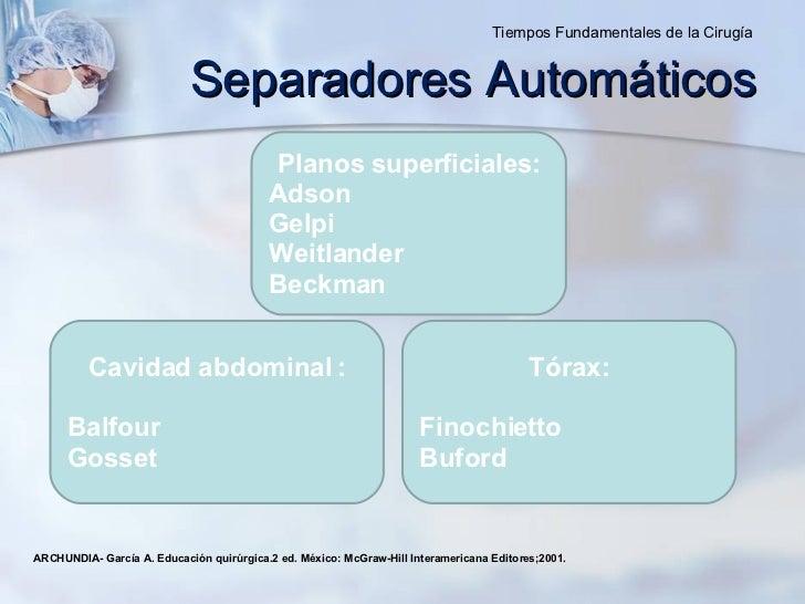 Planos superficiales: Adson  Gelpi  Weitlander Beckman Cavidad abdominal : Balfour Gosset ARCHUNDIA- García A. Educación q...