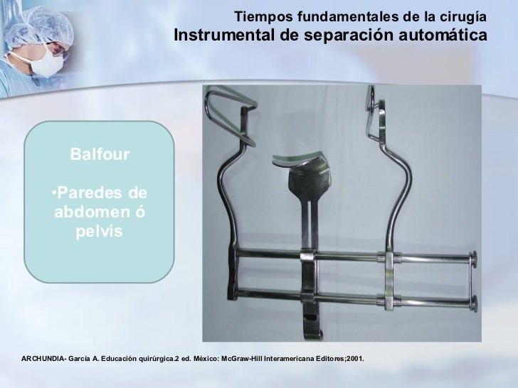 <ul><li>Balfour </li></ul><ul><li>Paredes de abdomen ó pelvis </li></ul>ARCHUNDIA- García A. Educación quirúrgica.2 ed. Mé...