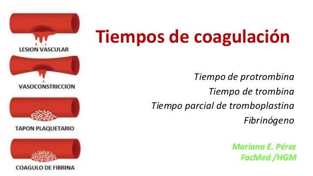 Tiempos de coagulación Tiempo de protrombina Tiempo de trombina Tiempo parcial de tromboplastina Fibrinógeno Mariana E. Pé...