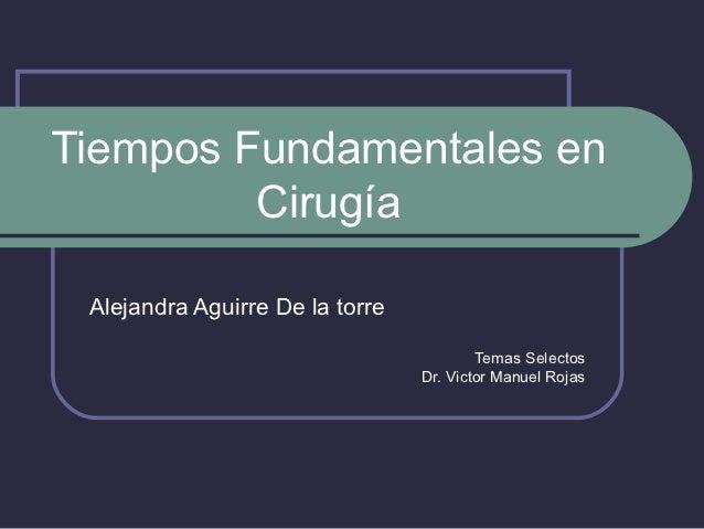 Tiempos Fundamentales en         Cirugía Alejandra Aguirre De la torre                                         Temas Selec...