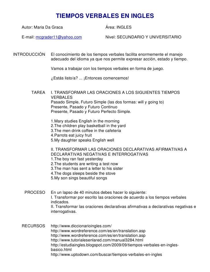 Tiempos verbales ejercicios mediante la webquest for En resumen en ingles