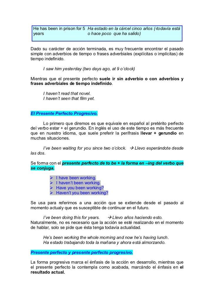 10 oraciones en presente perfecto progresivo en ingles y español