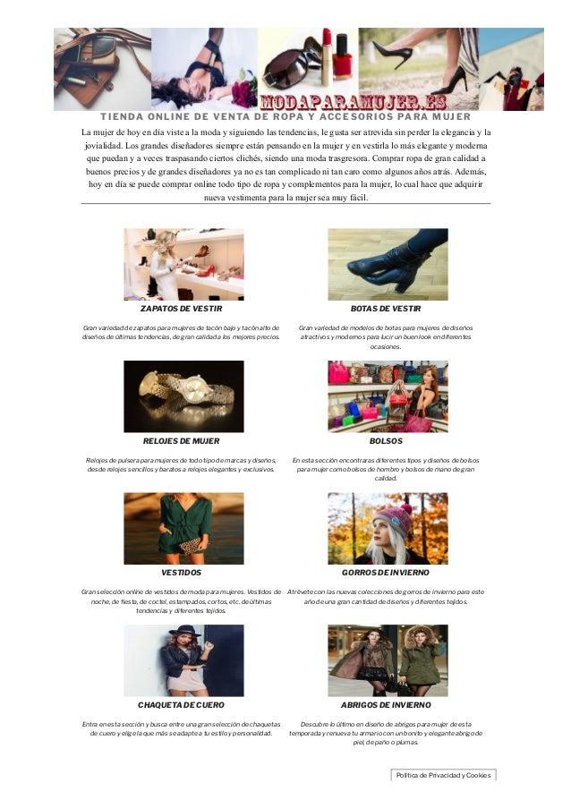 e8627eb73 TIENDA ONLINE DE VENTA DE ROPA Y ACCESORIOS PARA MUJER La mujer de hoy en d  ...