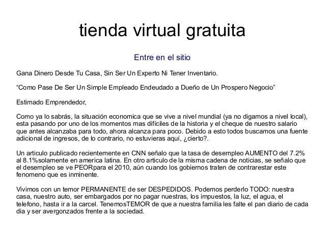 """tienda virtual gratuitaEntre en el sitioGana Dinero Desde Tu Casa, Sin Ser Un Experto Ni Tener Inventario.""""Como Pase De Se..."""