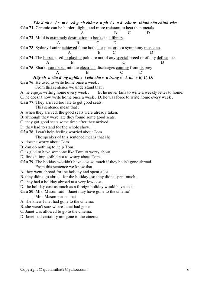 de thi cao dang nga anh Đáp án đề thi tuyển sinh cao đẳng 2010 của bộ gd-đt  đề thi anh mã 193  đáp án anh đáp án trung đáp án nga.