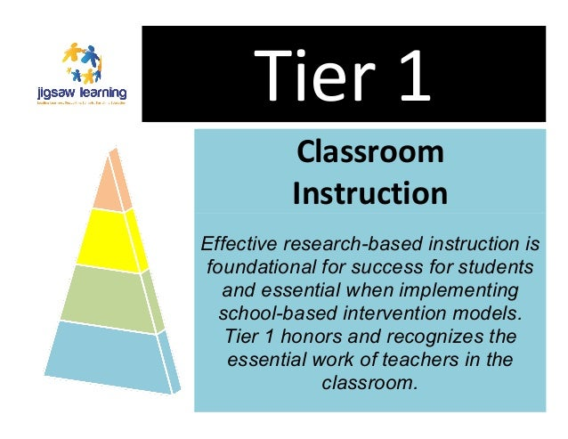 Tier  1  Classroom  Instruction  Effective research-based instruction is  foundational for success for students  and essen...