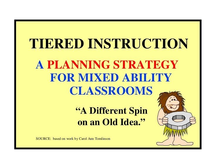 "TIERED INSTRUCTION A  PLANNING STRATEGY   FOR MIXED ABILITY CLASSROOMS "" A Different Spin on an Old Idea."" SOURCE:  based ..."